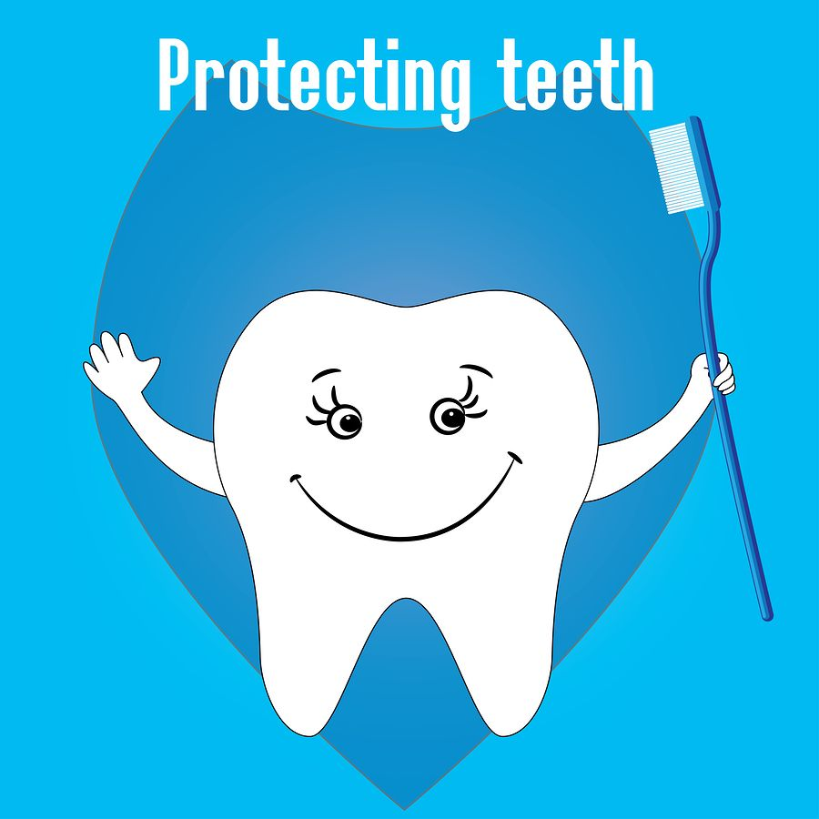 Happy Tooth and tooth brushes tooth protection vector